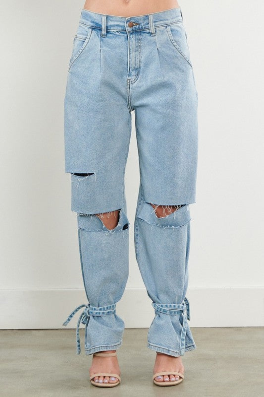 Tie It Up Ankle Tie Denim Jeans