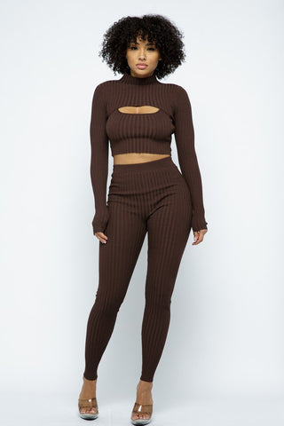 Zoned Out Ribbed 2 Piece Set | Sage