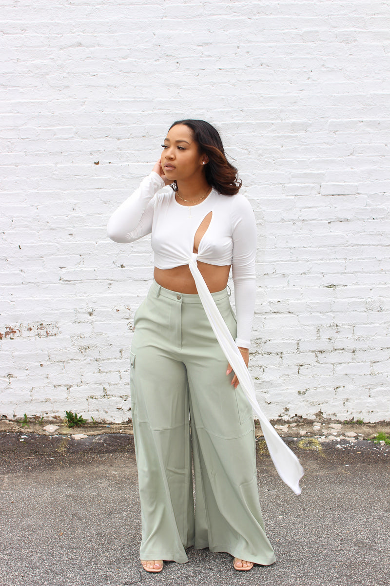 Minted | Wide Leg Cargo Pants