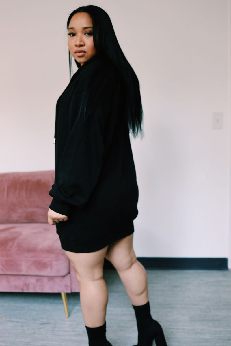 Oversized Hoodie Dress | Black