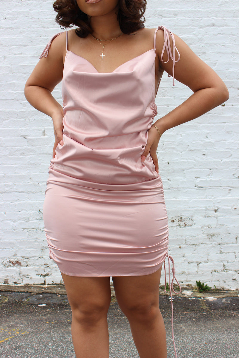 Rosey Cowl Neck Satin Ruched Dress