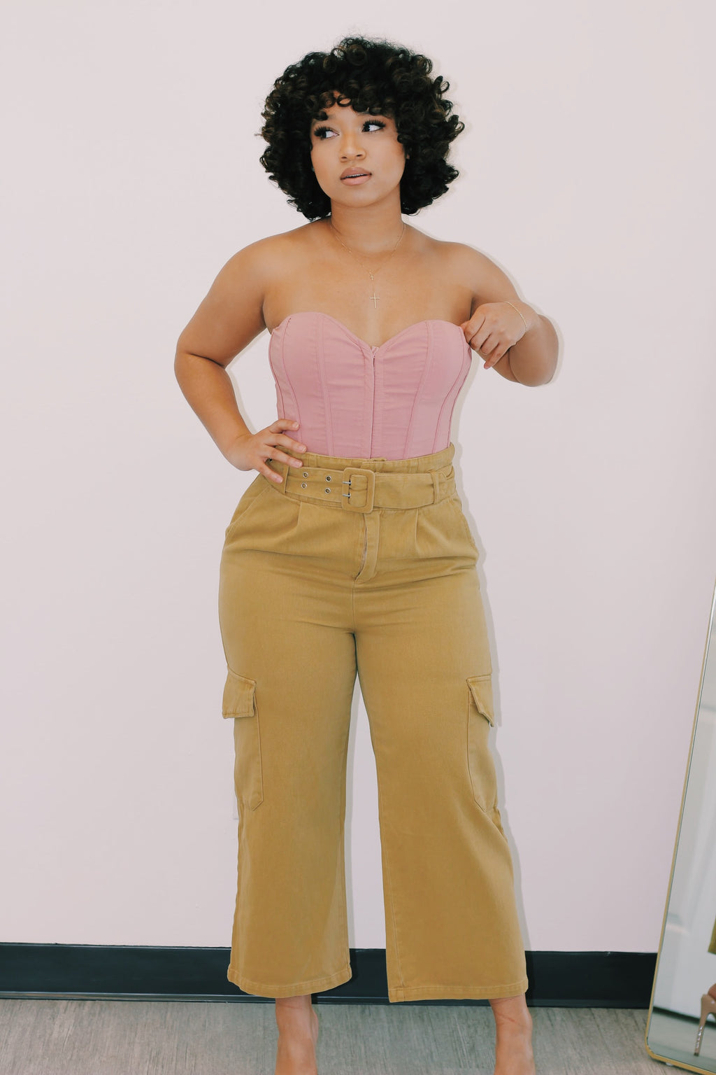 Tan High Waisted Cargo Pants