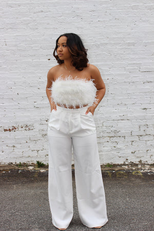 White Feather 2 Piece Pant Set