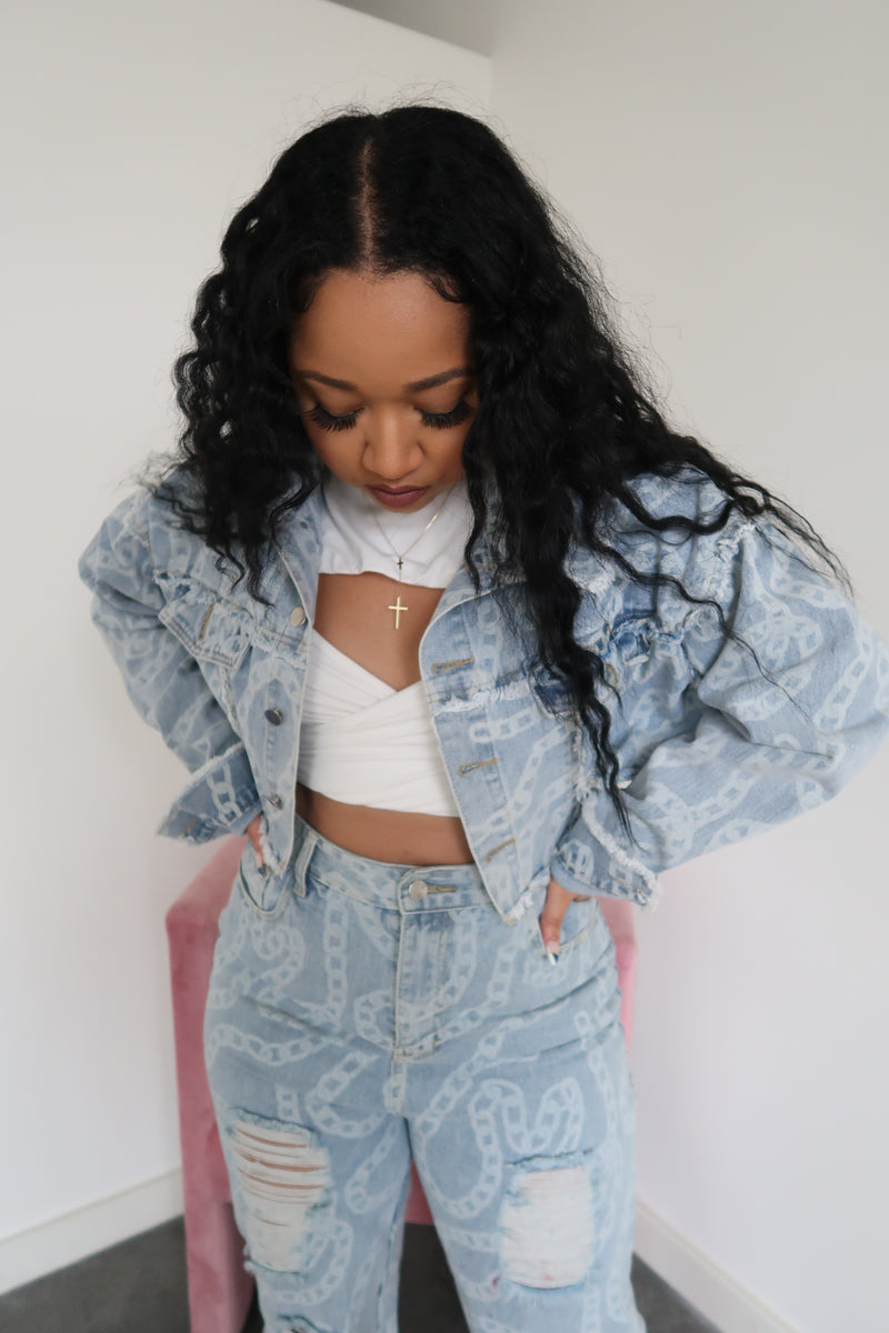 Off The Chain Cropped Denim Jacket