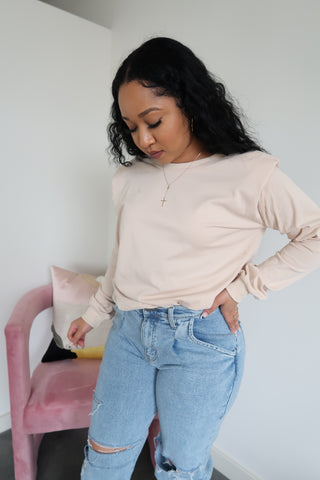 All Good Long Sleeve Biker Short Set | Taupe