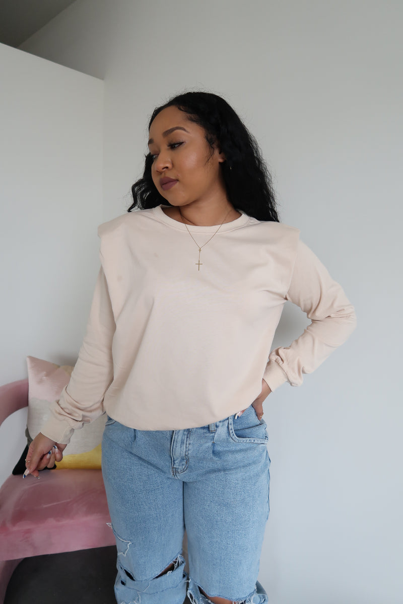 Padded Up Sweatshirt | Cream