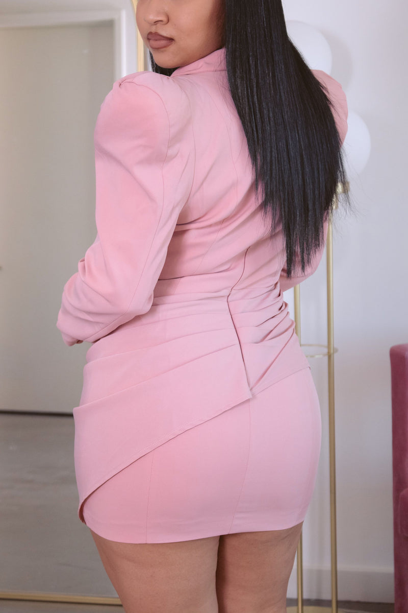 Pretty In Pink Shoulder Pad Dress