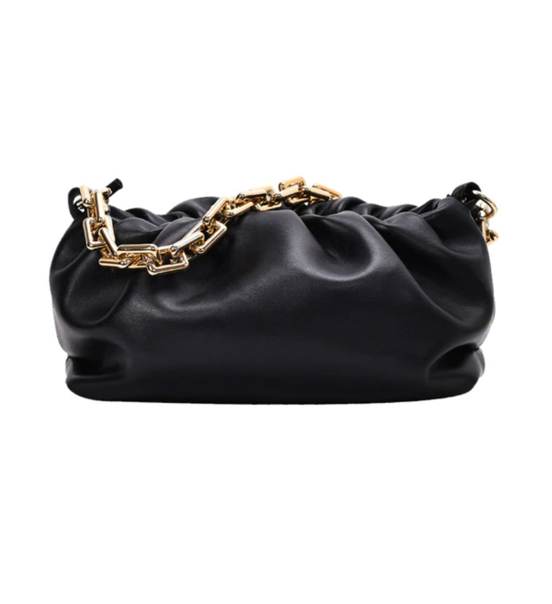 Gold Link Faux Leather Pouch | Black