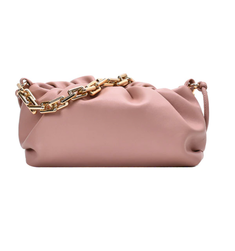 Gold Link Faux Leather Pouch | Blush