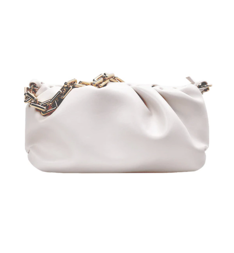 Gold Link Faux Leather Pouch | White