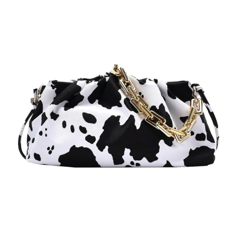 Gold Link Faux Leather Pouch | Cow Print