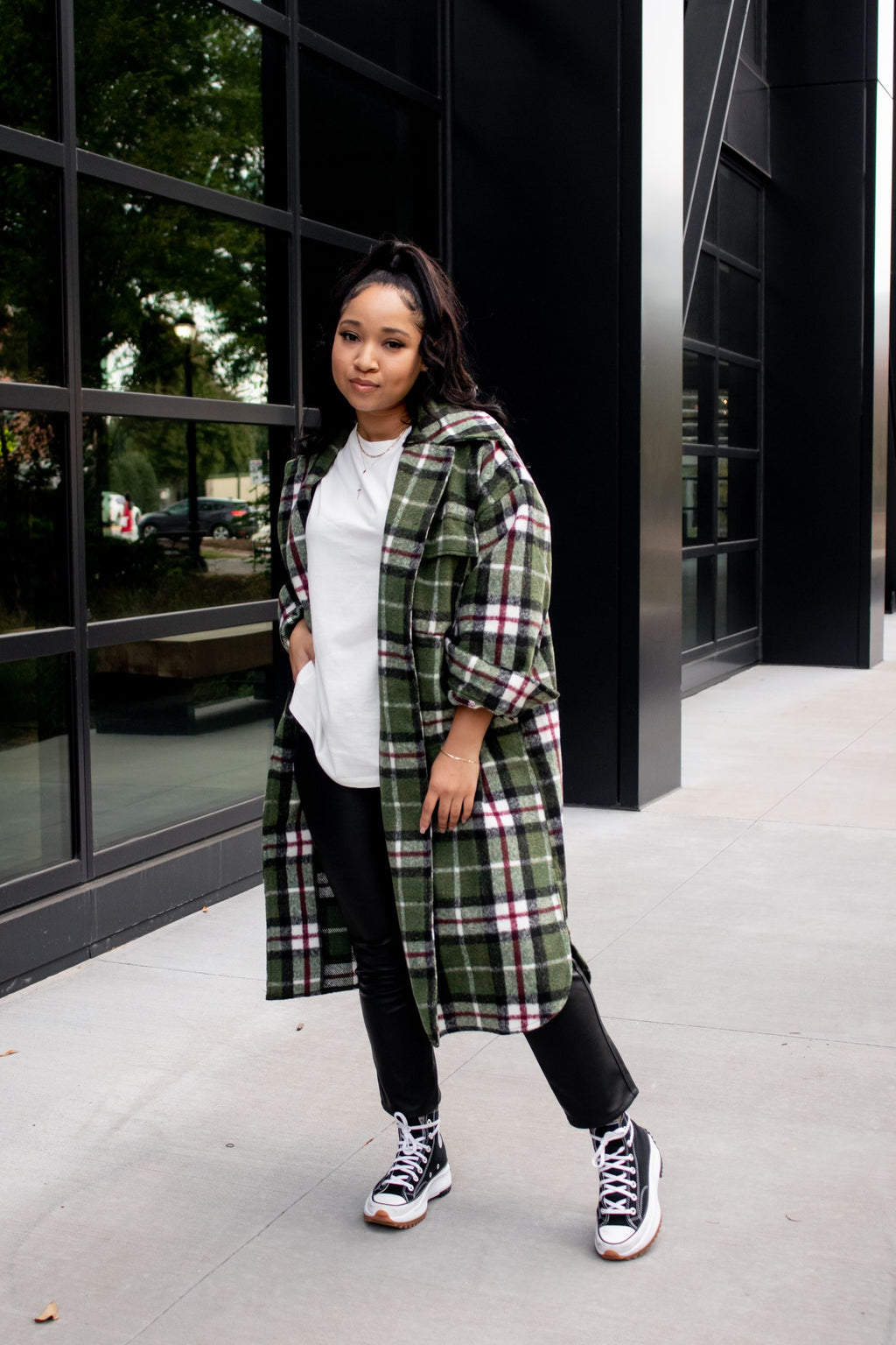 Checked Out Longline Jacket | Olive