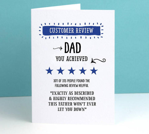 'Customer Review' Father's Day Personalised Card - Afewhometruths