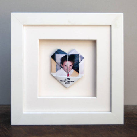 Personalised Framed Origami Holy Communion Photo Heart - Afewhometruths