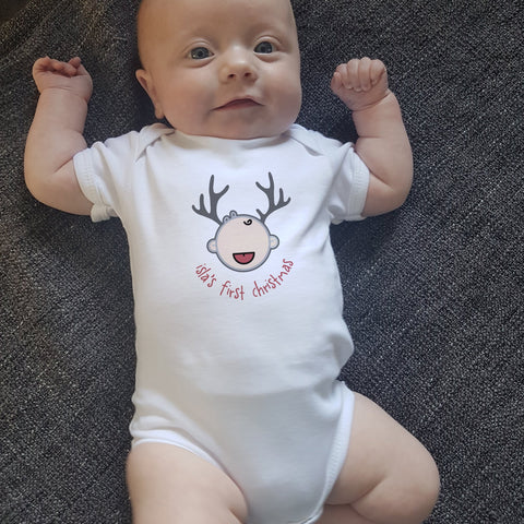 Personalised First Christmas Reindeer Babygrow - Afewhometruths