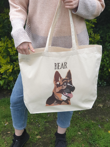 Personalized German Shepherd Dog Tote Shopper Bag
