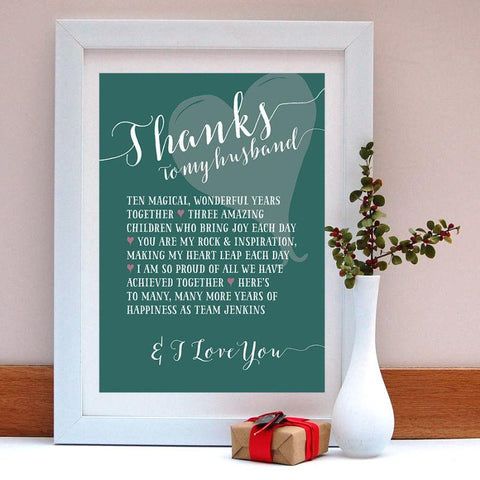 Thanks to my Husband Personalised Anniversary Print - Afewhometruths