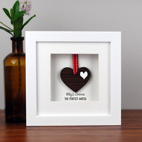 Personalised Double Walnut Wooden Heart Frame - Afewhometruths