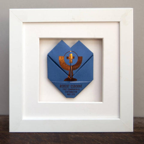 Framed Copper Holy Communion Origami Heart - Afewhometruths