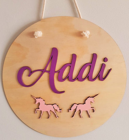 Kids Circle Unicorn Name Panel