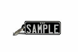 Number Plate Key Ring Black with White Writing