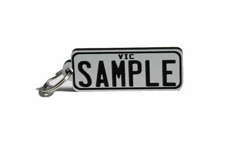 Number Plate Key Ring White with Black Writing
