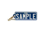 Number Plate Key Ring Blue with White Writing