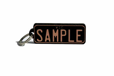 Number Plate Key Ring Black with Gold Writing