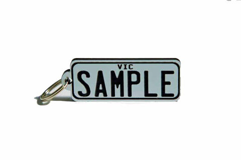 Number Plate Key Ring Silver with Black Writing