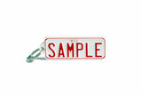 Number Plate Key Ring White with Red Writing