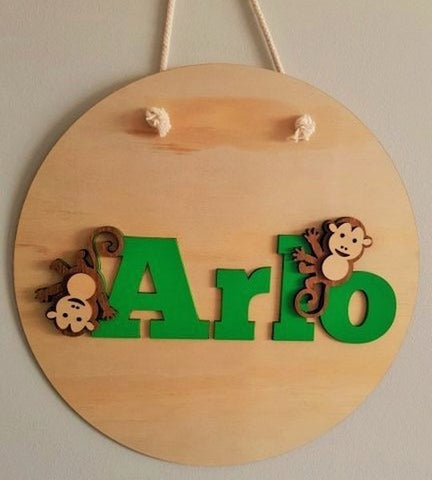 Kids Circle Monkey Name Panel