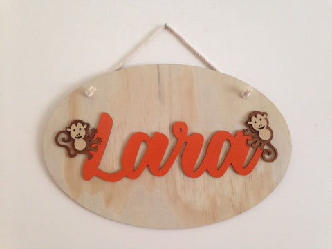 Kids Oval Monkey Name Panel