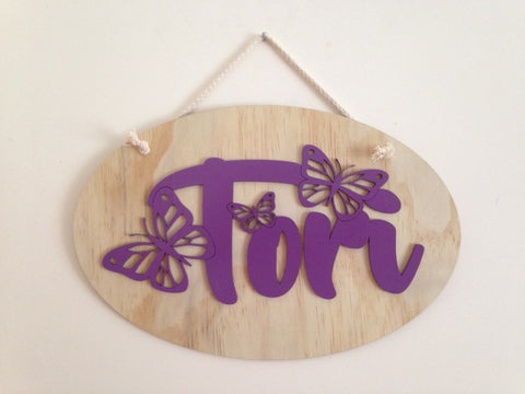 Kids Oval Butterfly Name Panel