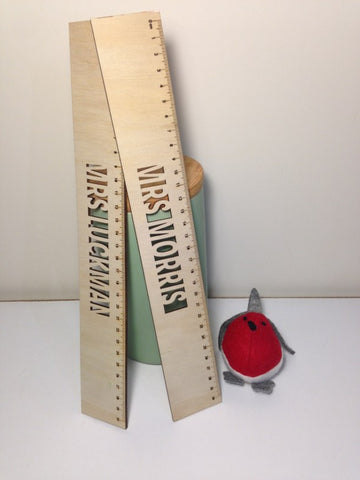 30cm Wooden Ruler with Laser Cut Text