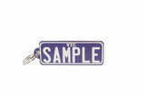 Number Plate Key Ring Purple with White Writing
