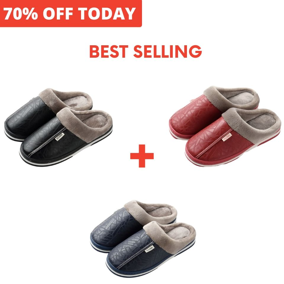 70% OFF TODAY: PREMIUM WATERPROOF WINTER LEATHER SLIPPERS