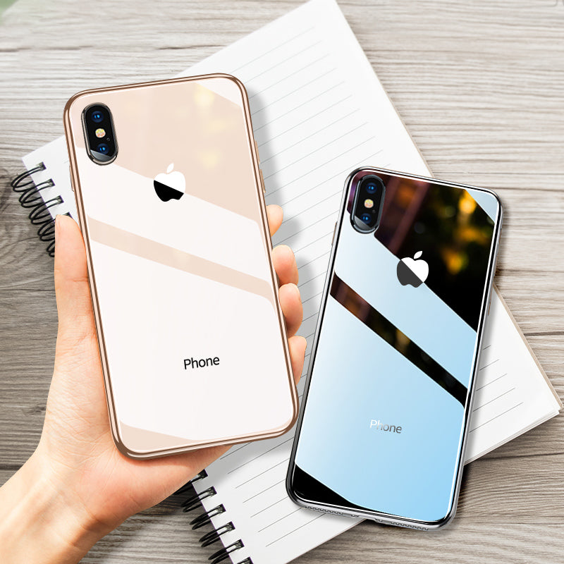 SAFY: All-inclusive Anti-drop Plating Mirror Original iPhone Case + Full Cover Tempered Glass (1 SET)