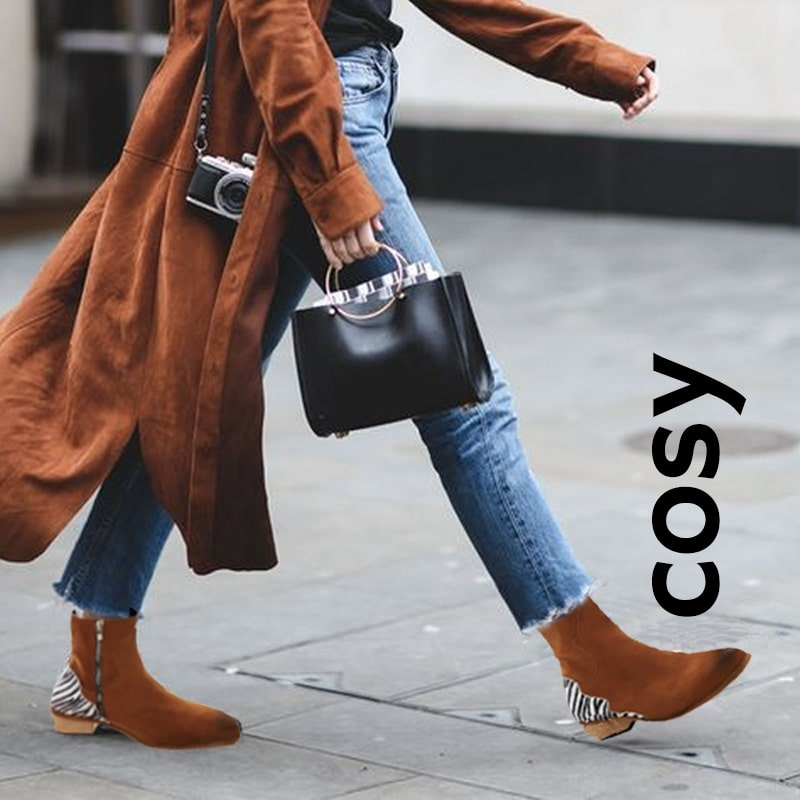 COSY Comfy Lightweight Zebra Flock Ankle Boot