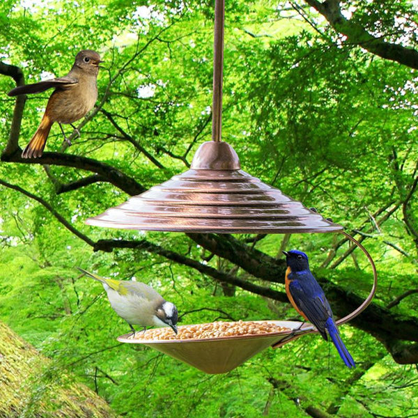 Backyard Habitat - Outdoor Metal Bird Feeder Bird Perch Decoration Hanging Wild Bird Seed Feeders Bird Supplies Pet Products