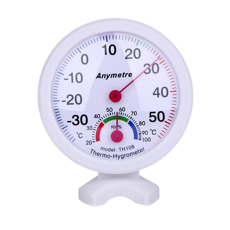 Indoor Garden - Hight Quality White Round Digital In-out Doors Centigrade Greenhouse Thermometer Hygrometer