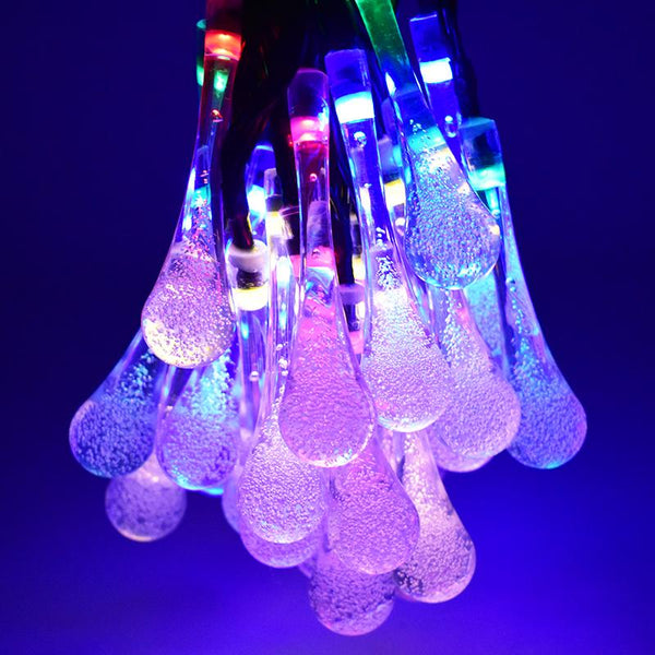 Outdoor Lighting - LED Water Drop Solar Powered Fairy String Lights