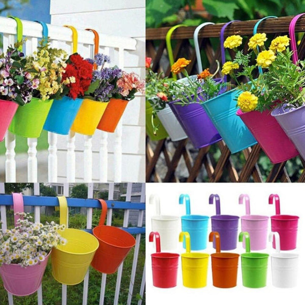 POTS & PLANTERS - 10 Colors Metal Iron Flower Hanging Pots -  Balcony Railing Planter