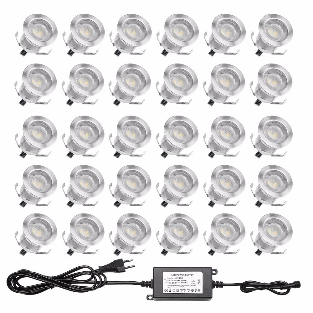 YARD & OUTDOORS - QACA Low Voltage 0.6W LED Deck Light Outdoor Garden Patio Stairs Landscape Decor LED Lighting In-ground 30pcs/set B110-30