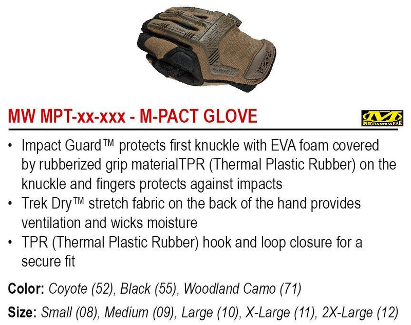 M-PACT, Rubber Knuckle & Foam Palm, Coyote, Small