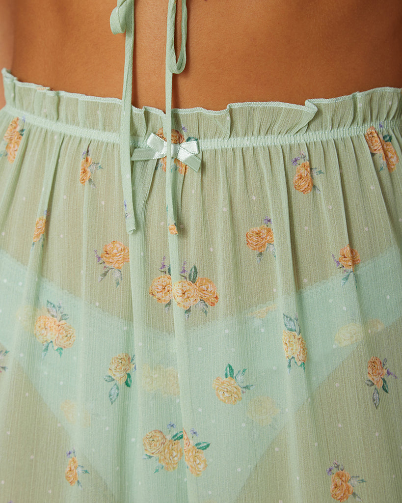 Polka Dot Floral Sea Green