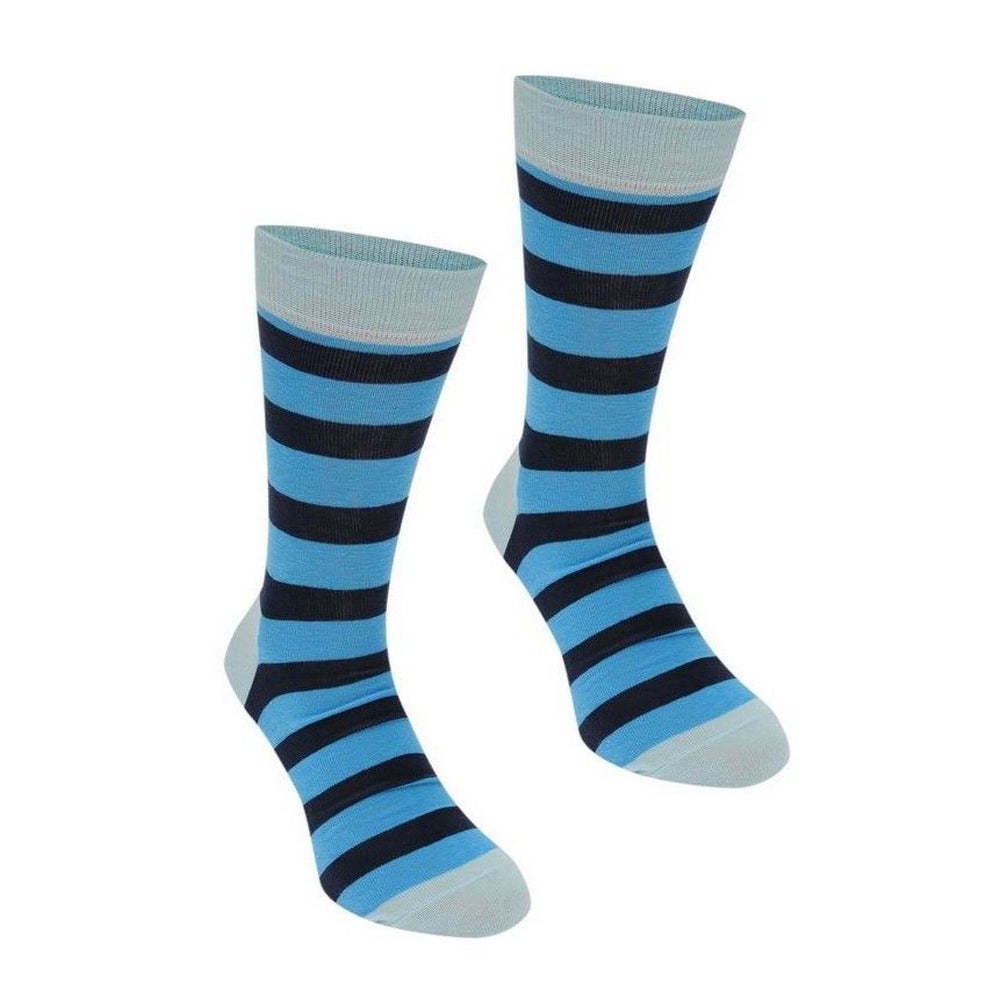 Happy Socks Mens Pair Two Tone Blue Stripe UK 7½-11½ - GENTS CLOBBER