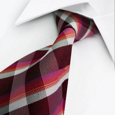 SILK TIE | RED WHITE PINK | GENTS CLOBBER
