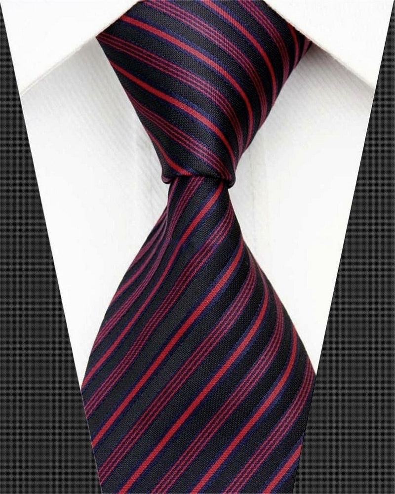 BLACK STRIPED TIE | PURE SILK | GENTS CLOBBER