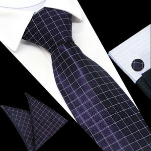 Mens Purple White Geometric Check Silk Tie Hanky Cufflinks - GENTS CLOBBER