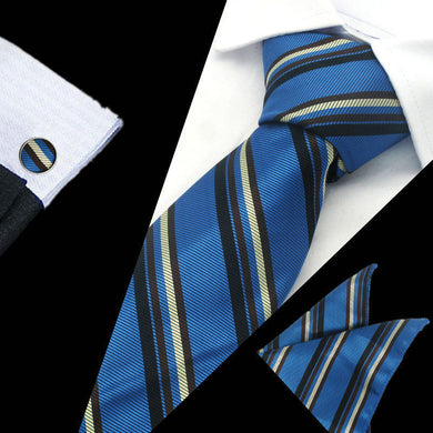 Mens Blue Black Brown Stripe Silk Tie Hanky Cufflinks - GENTS CLOBBER